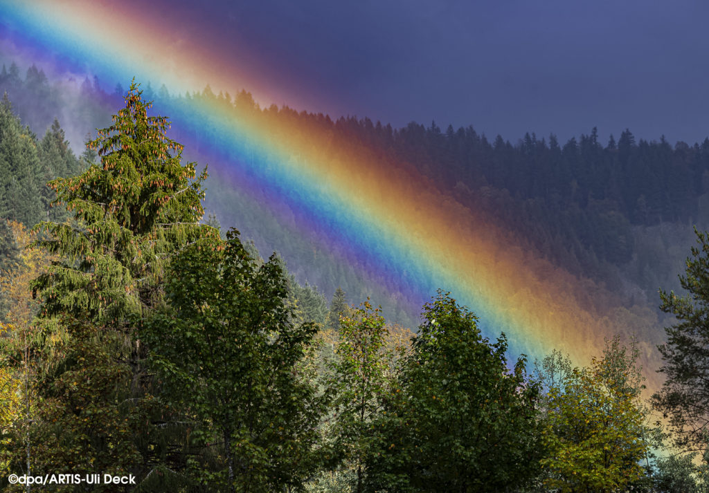 Regenbogen über dem Schwarzwald bei Forbach. Foto Copyright: dpa/ARTIS-Uli Deck