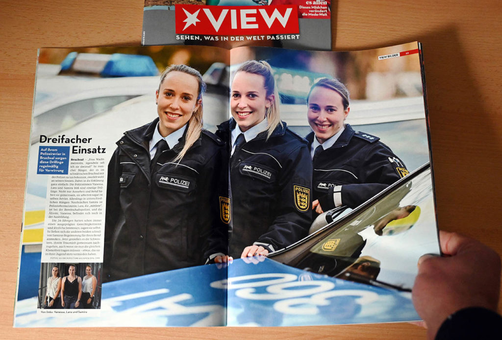 Danke VIEW Magazin für die Doppelseite in der Februar Ausgabe mit eines meiner dpa Fotos zu den Polizei Drillingen.