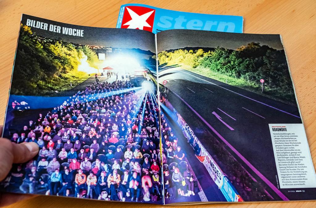 Doppelseite im aktuellen Stern Magazin vom 09.09.2021 mit eines meiner dpa Fotos vom  Open Air Kino auf der Autobahn A8 bei Pforzheim, die wegen Brückenarbeiten in beide Richtungen voll gesperrt wurde. Foto dpa/ARTIS-Uli Deck