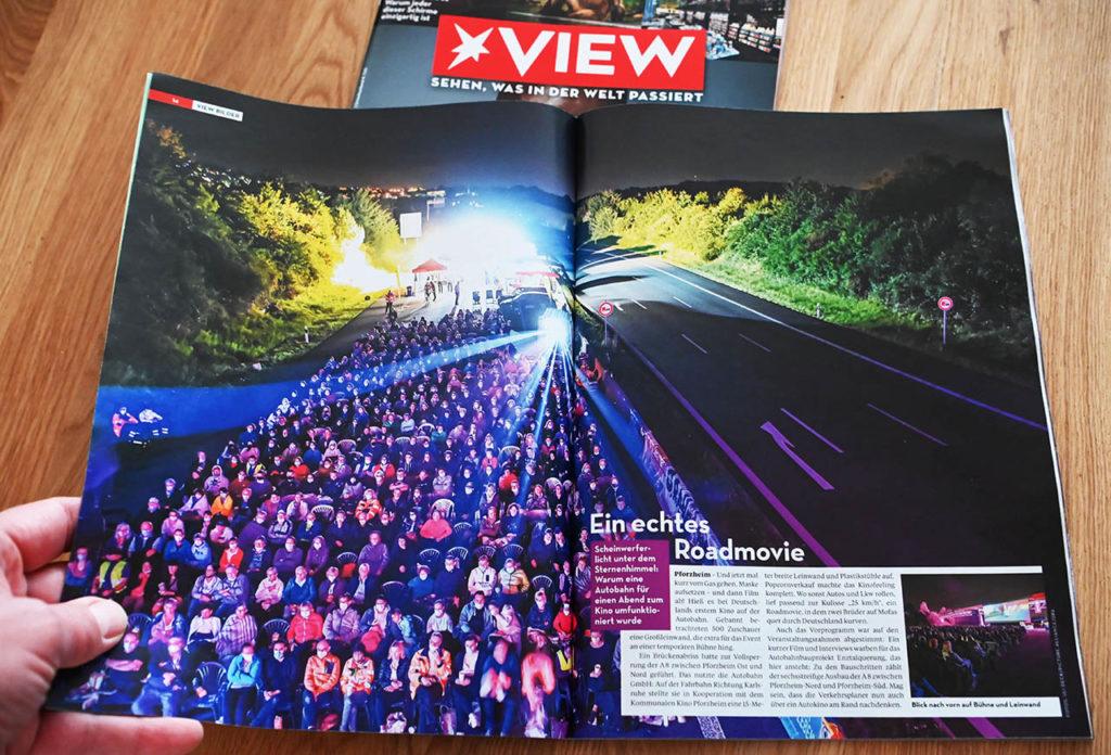 02.10.2021 - Ich bin baff, nach einer Doppelseite im Stern vom 09.09.2021 nun eine Doppelseite in der aktuellen Ausgabe des VIEW Magazin vom 02.10.2021 mit meinem dpa Foto vom Open Air Kino auf der Autobahn A8. Großartig!